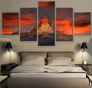 Frame 5 Panels Modern Canvas Prints Artwork Landscape Pictures Canvas Wall Art Picture Home Decoration Living Room Canvas Print