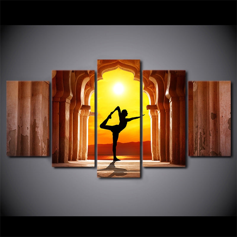 Modern Canvas Wall Art Poster Frame Room Decor HD Printed 5 Panel Modular Pictures Yoga Fitness Twilight Hall Painting PENGDA
