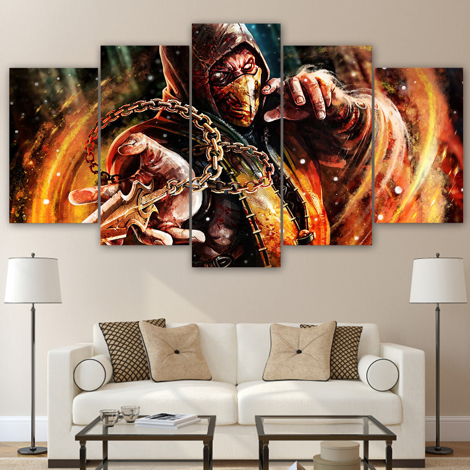 Modern Canvas Wall Art Poster Frame Home Decor 5 Pieces Mortal Kombat Pictures HD Printed Movie Game Characters Painting PENGDA
