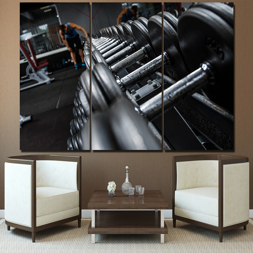 Canvas Wall Art Modular Abstract Pictures HD Printed Poster 3 Pieces Fitness Dumbbells Equipment Paintings Decor For Living Room