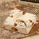 luxury European style retro square ashtray style living room Home Furnishing ceramic crafts decorative ornaments