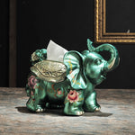 luxury decoration decoration Home Furnishing elephant paper towel box gift box ornaments hand-painted napkin box