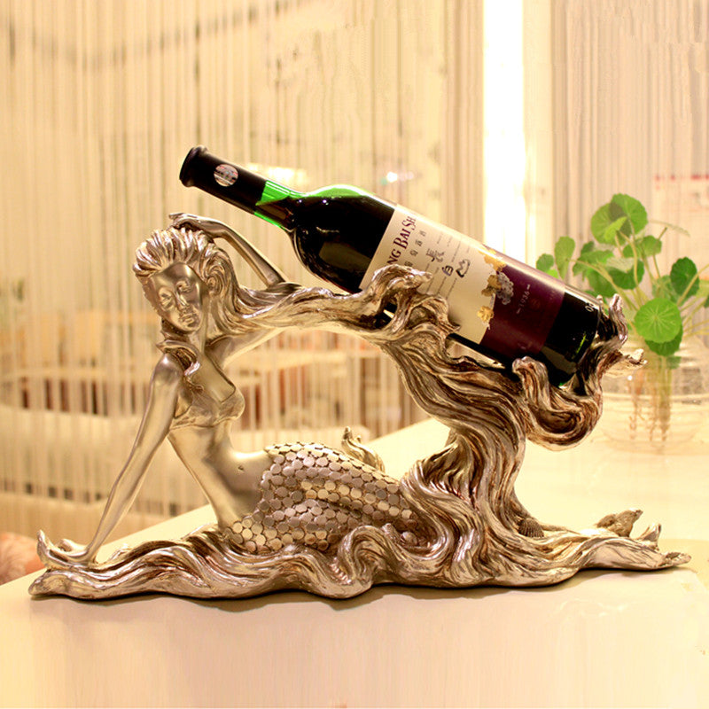 Golden Mermaid Resin Wine Racks Creative Retro Furniture Made of Solid Resin Elegant Manual Home Decorations Ornaments