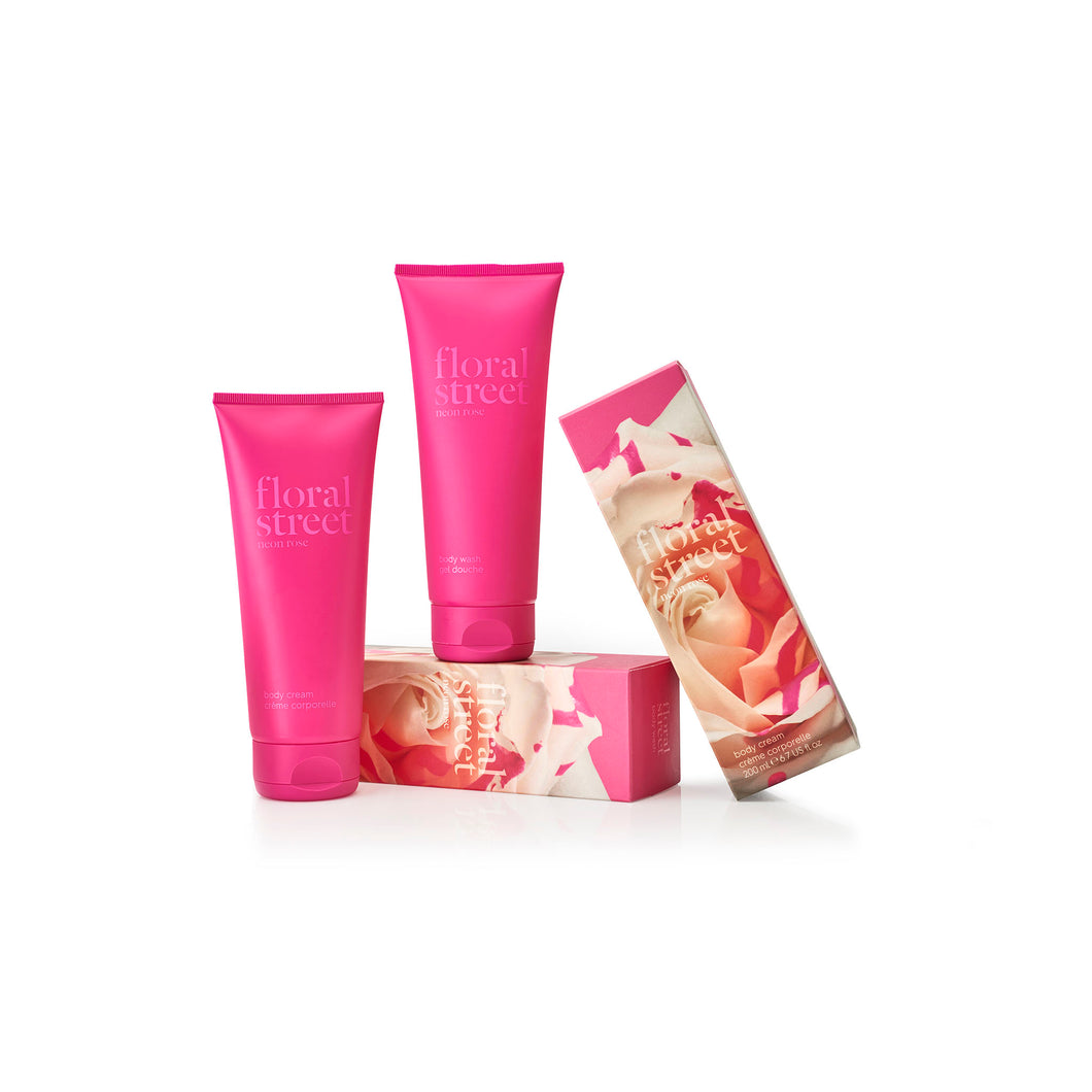 Neon rose vegan body cream and body wash gift set with recyclable sugarcane packaging