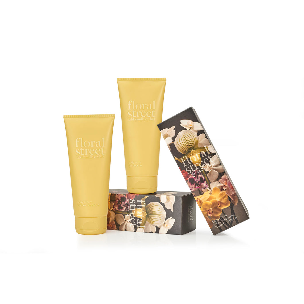 Wild vanilla orchid vegan body cream and body wash gift set with recyclable sugarcane packaging