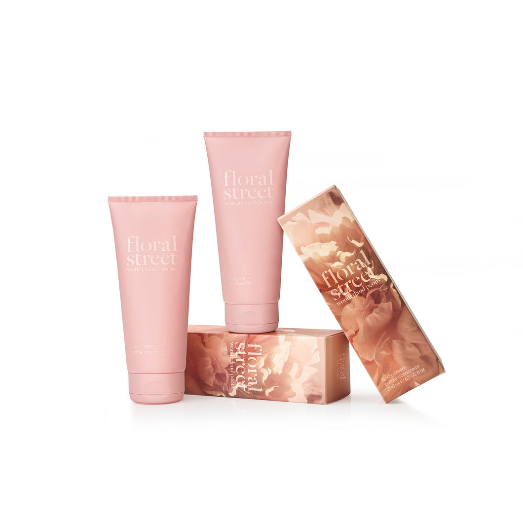 Wonderland peony vegan body cream and body wash gift set with recyclable sugarcane packaging