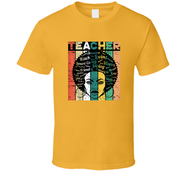 Black History Teacher Gold TShirt
