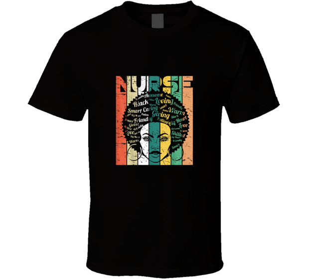 Black History Nurse Black T Shirt
