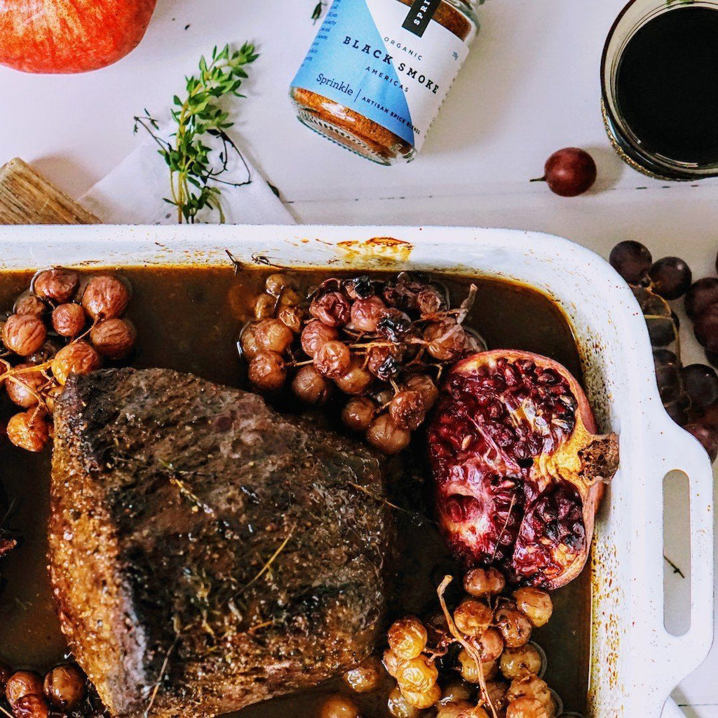 Roast beef with pomegranates & grapes