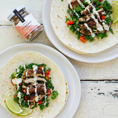 Middle Eastern spiced chicken tacos with a herb salsa