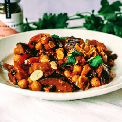 Hearty eggplant & chickpea stew