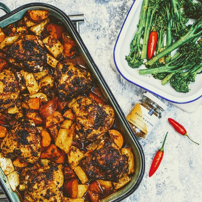 Chicken traybake with Rose Harissa