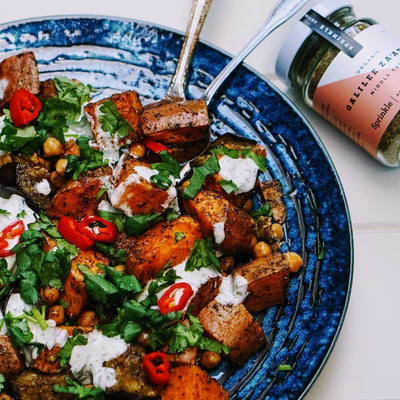 Za'atar roasted sweet potatoes with minty yoghurt & chilli