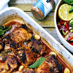 banking dish containing Roast chicken thighs with Barbacoa spice mix