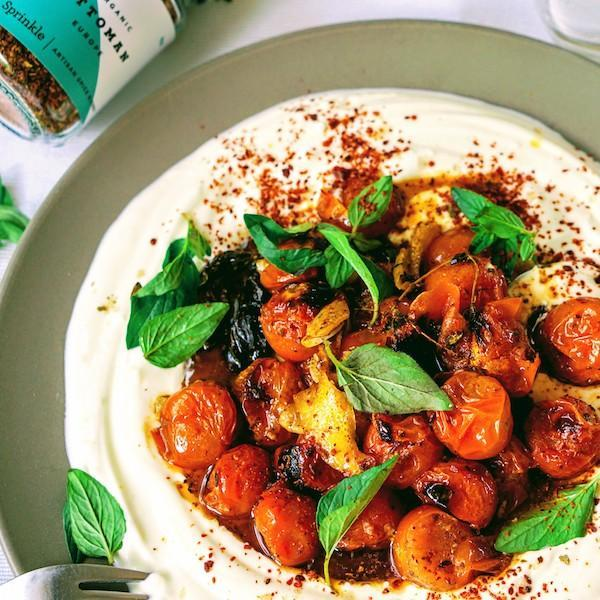charred tomatoes with lemony yoghurt seasoned with Ottoman Spice Mix