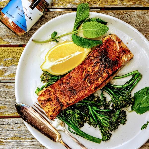 Salmon with Sprinkle Barbacoa spice blend