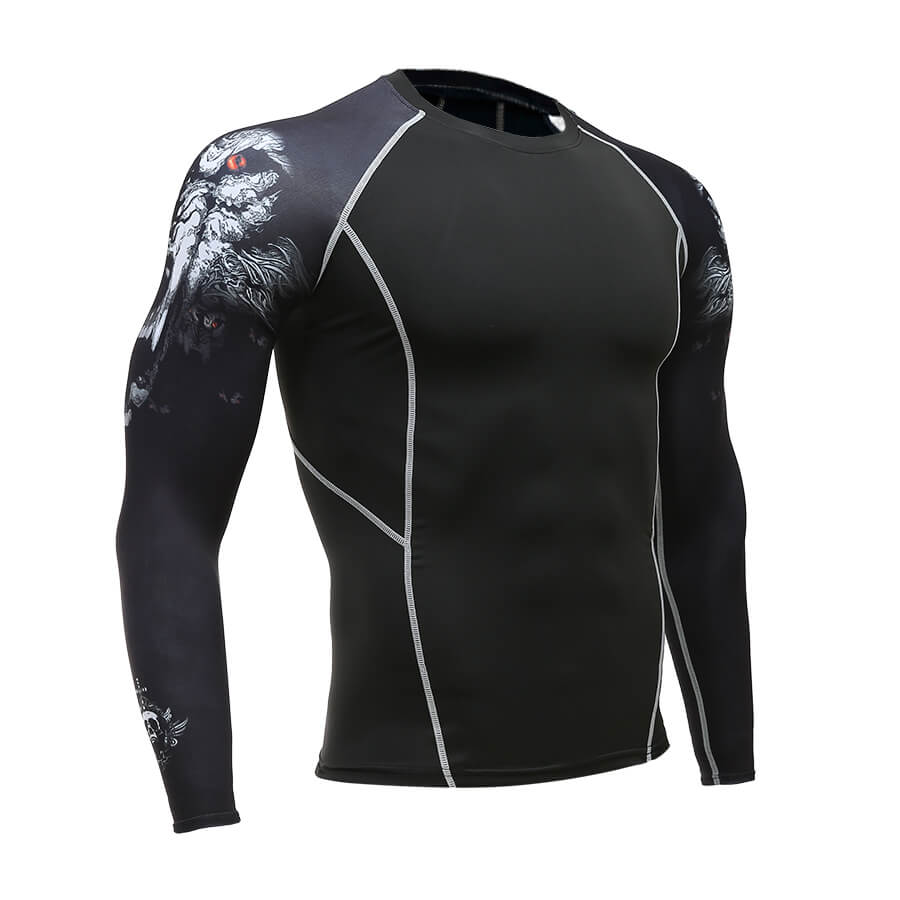 Men's Dry-Fit Long Sleeve Compression Shirt - Graphic