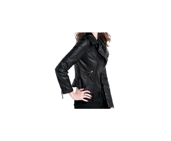 Black Womens Biker Leather Jacket with Zippered Sleeves