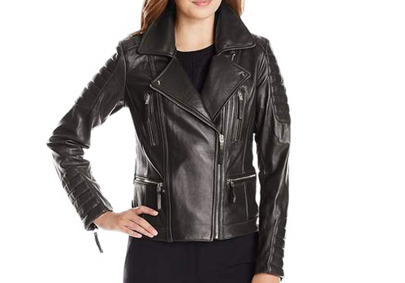 Black Womens Biker Real Leather Jacket with Zippered Pockets