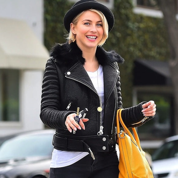 Julianne Hough Biker Moto Leather Jacket