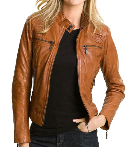 Cocoa Brown Biker Real Leather Jacket with Zip Detail