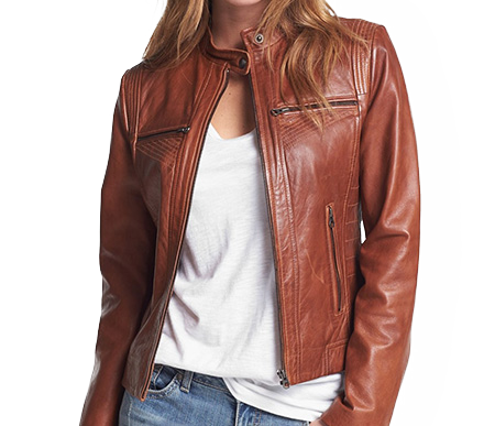 Womens Chestnut Biker Genuine Leather Jacket