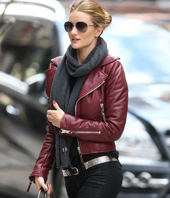 Rosie Huntington-Whiteley Maroon Biker Leather Jacket