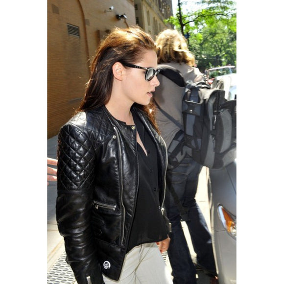 Kristen Stewart Quilted Biker Leather Jacket