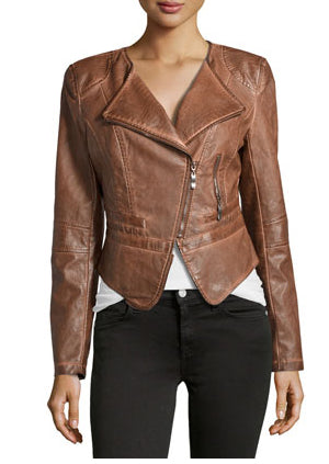 Womens Chocolate Brown Biker Leather Jacket