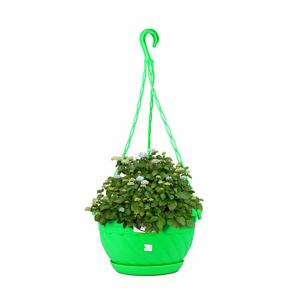 Pepper Agro Hanging Flower Pots 8 inch Planter with Plant Saucer Blue