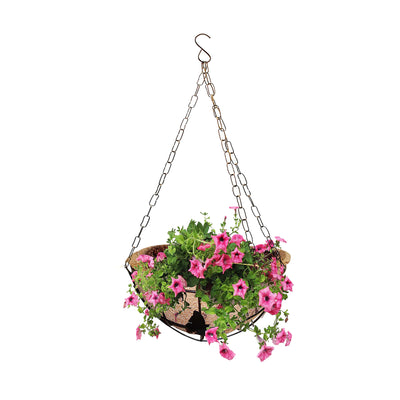 Pepper Agro Coir Planter Coco Fiber Flower Pots 10 inch Round Hanging with Metal Frame