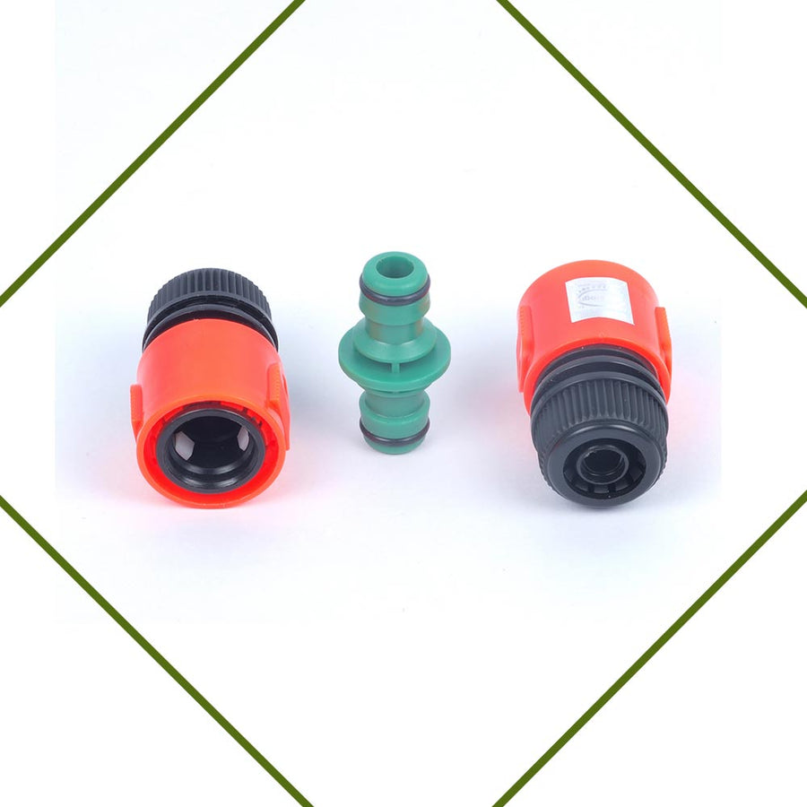 Pepper Agro Garden Watering car Wash Hose Pipe Connector 2 Way Joiner With Snap On Adapter Set of 1