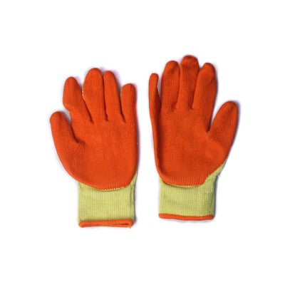 Pepper Agro Multipurpose Gloves Sweat Free Cotton Fabric Palm Side Coated with Latex Orange and Yellow Free Size - Pepper Agro
