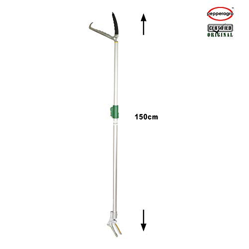 Pepper Agro Rescue Telescopic Stick, 5ft Long Tongs With Safety Lock  Foldable Catcher Stick Handling Tool- Green,Silver