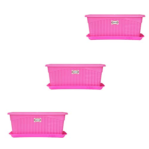 Pepper Agro Royal planter 11 Inch With Tray Pink (Set of 3,6,9,12 Qty) (colour may vary)