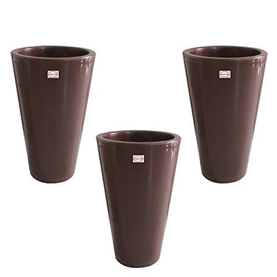 Pepper Agro Alpine Fibre 12 Inch Round Brown Decorative Planter Set of 3