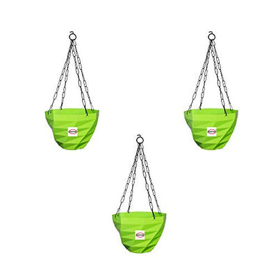 Plastic Garden 3DEE Green Hanging Flower Pots 6 Inch For Home Decor & Garden Décor