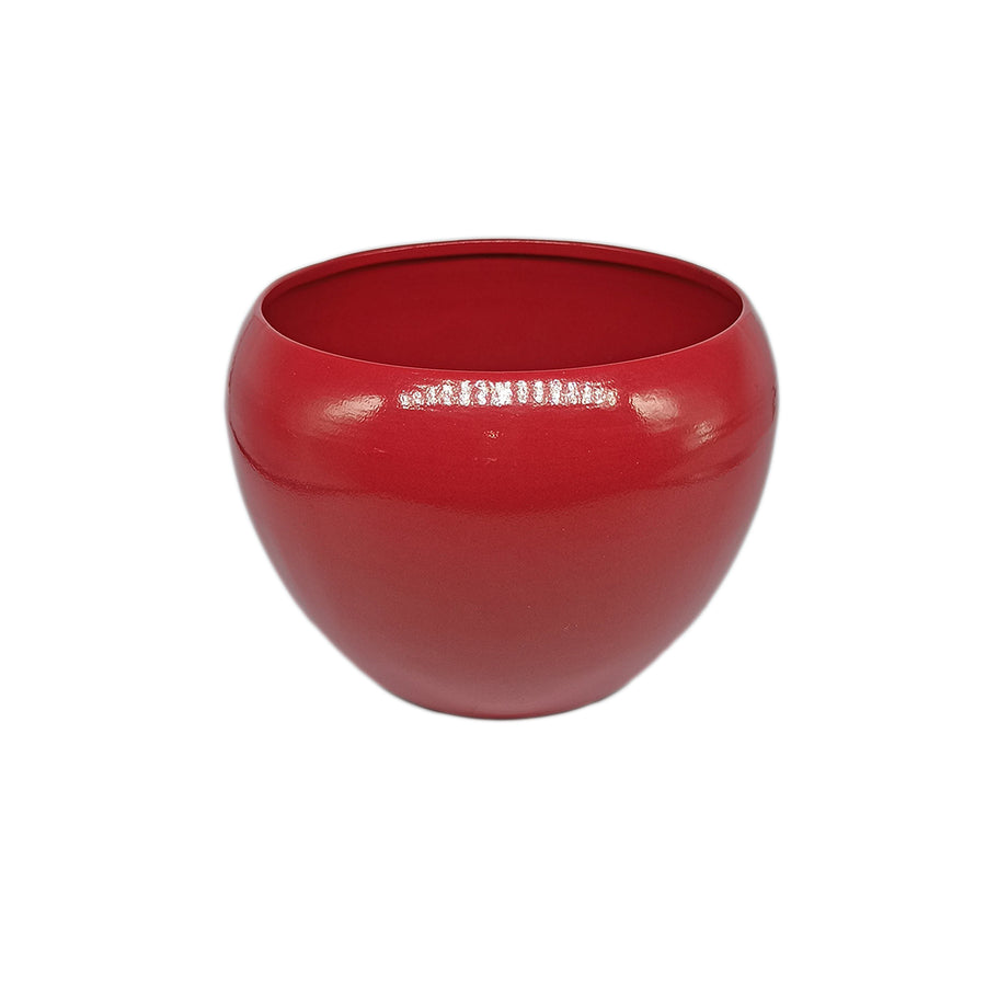 Red Color Metal Meena Pot With White Stand | Flower Planter