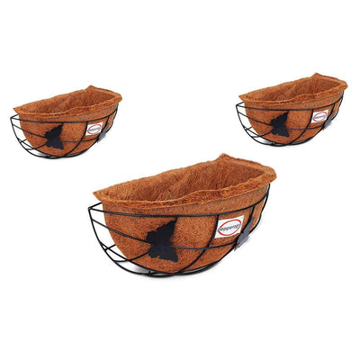 Pepper Agro Coir Planter Coco Fiber Flower Pots Wall Hanging Semi Circle 13 inch with Metal Frame