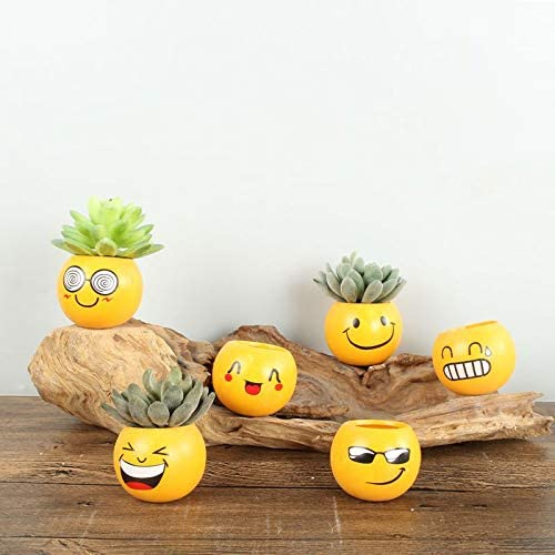All New 5 Inch, Emoji Expression Wall Hanging Flower Pot | Yellow Color Smily Metal hanging Pot | Outdoor, Indoor Use- Set Of 6