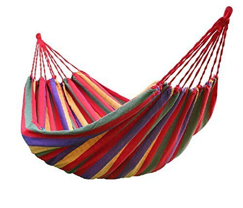 Pepper Agro Multi Colour Cotton Stripped Hanging Foldable Portable Hammock with Carry Bag Set of 1