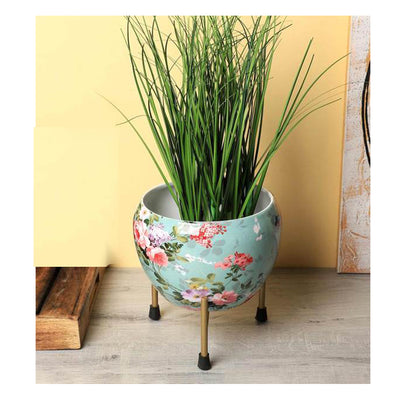 Ocean Green Color Metal Meena Pot | Flower Planter