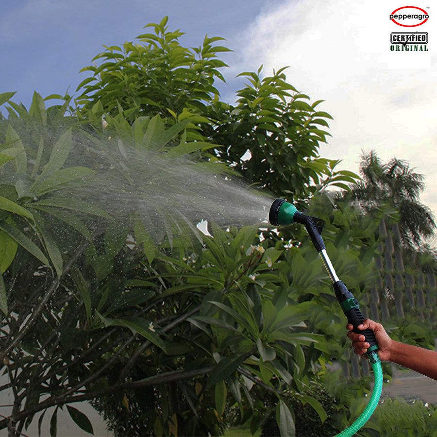 "Long Hand Spray Gun 9 Mode/Pattern With ON/OFF Button | Easy Garden Watering with Braided Hose Pipe 3/4"" inch 
