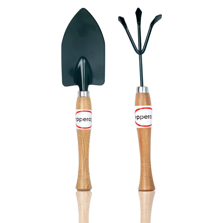 Pepper Agro Garden Tool Wooden Handle Trowel Cultivator 2 Piece Kit