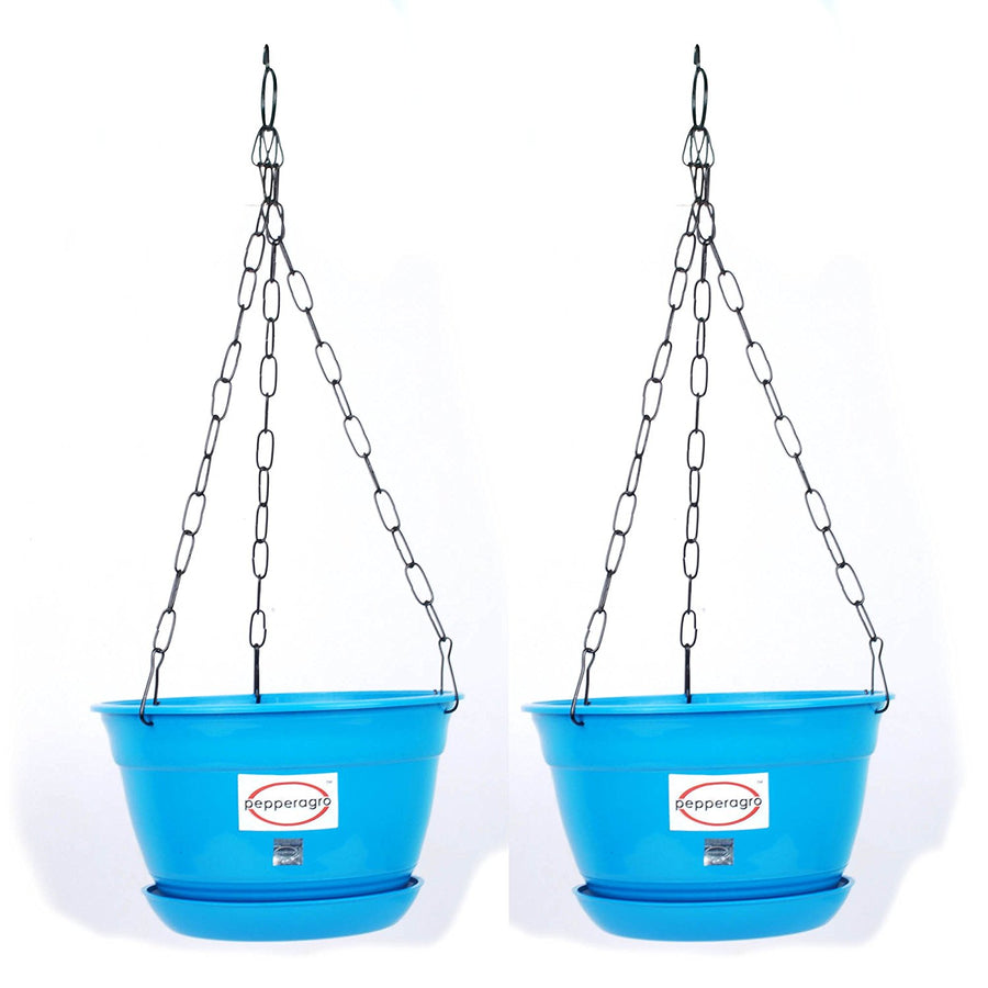 Pepper Agro Hanging Planter with Metal Chain and Base Plate Set Of 2