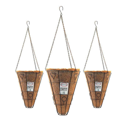 Pepper Agro Coir Planter Coco Fiber Flower Pots Cone Shape Orchid Hanging 9 inch with Metal Frame