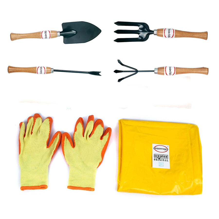 Pepper Agro Garden Tool Wooden Handle Trowel Cultivator Weeding Fork Weeder Apron Cotton Gloves 6 Piece Kit