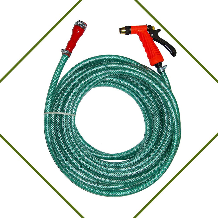 PEPPER AGRO HEAVY DUTY BRAIDED HOSE WITH BRASS SPRAY GUN FOR CAR WASH & GARDENING 10 METERS