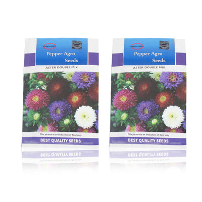 Pepper Agro Aster Double Mixed Flower seeds 2 packs