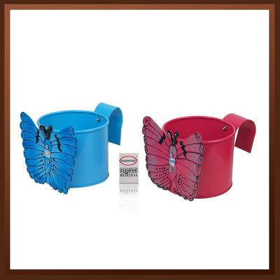 Pepper Agro Gardening Railing Balcony Butterfly Planter Hanging pots Metal Plant Container Pink & Blue Set of 2